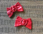 Vintage Red Bow Shoe Clips