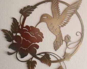 Hummingbird and Flower  Metal Sign, Wall decor, 65 cm