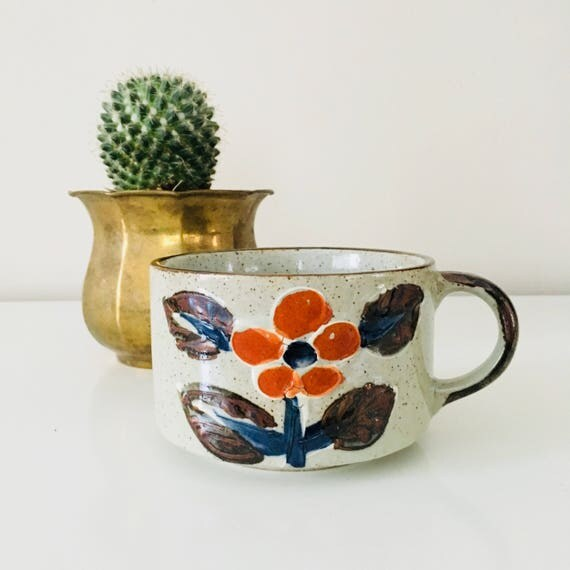 Vintage Stoneware Coffee Mug Retro Orange Navy Blue Flower Floral Speckled Soup Bowl Ceramic Tea Mug
