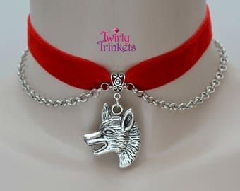 RED Velvet 16mm Ribbon Choker WOLF Head Charm With CHAIN Necklace tc... 30 colours & size adjustable :)