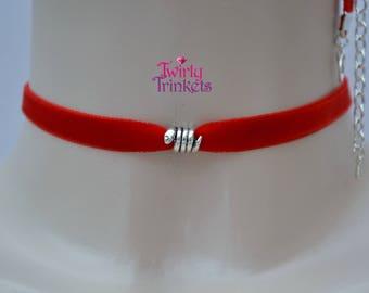 SNAKE RED Choker Necklace, 10mm Ribbon, 16 Velvet Colours :)