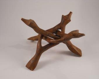 Wood Tripod Stand Trivet Hand Made