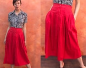 Vintage 1980s 1980s high waist red skirt with yoke. 90s high waisted skirt 80s high waist skirt