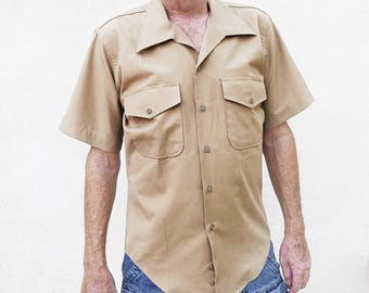 60s Tan Military Shirt, Mens Work Wear, Short Sleeve Front Pockets, Made in the USA