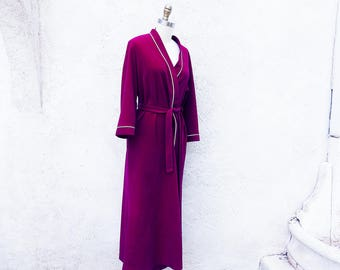 Vintage 70s Robe, Warm and Cozy Wrap Around Vanity Fair Long Maroon Bathrobe, Made in the USA