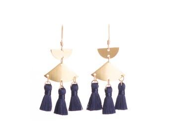Tassel earrings Navy blue mini tassel earrings - Navy tassel - Nickel free gold hooks + brass mini tassel earrings - Navy accessories