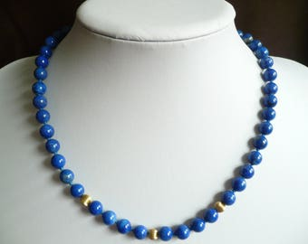 """Vintage Blue Lapis Bead Necklace 14K GF Clasp Hand Knotted 18"""" Long Beaded 8mm"""