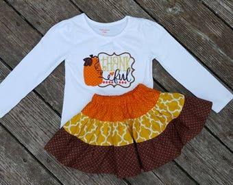 Girls Skirt and Shirt Outfit -  Tiered Harvest Skirt with Thankful Applique Shirt