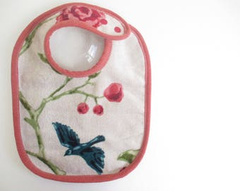 EcoBib--Adjustable Snap Closure--Modern Flying BlueBird with Roses--Ready to Ship