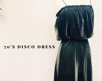 Vintage 70s disco party dress - 1970s Charlies Angels Studio 54 metallic iridescent cocktail dress - medium