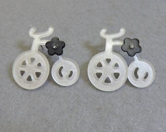 Fun White Plastic Bicycle Pierced Earrings