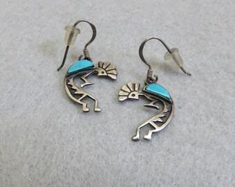 Kokopelli Pierced Earrings, Turquoise Inlay  Native American Style Sterling