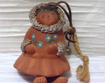 Alaskan Inuit Girl Wind chime.  Hanging Ceramic figure. Vintage 1980.  Mod Kitsch.  Made in Alaska.  Signed NCW, Stacy.