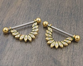 Feather Gold Nipple Shield Nipple Ring Nipple Piercing