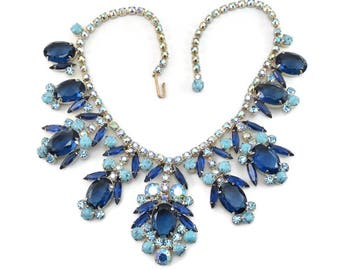 Exquisite Vintage D&E JULIANA Blue Rhinestone / Turquoise Matrix Bib Necklace  Rare Runway Book Piece Showstopper!