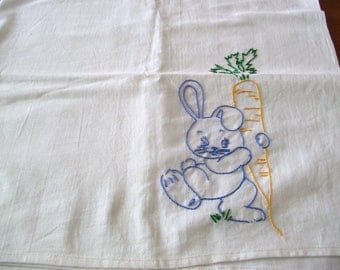 Set of Three Large Kitchen Towels with Embroidery