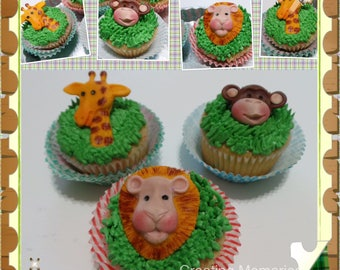 Fondant Zoo Animal decorations- Safari Cake decorations, Edible cake toppers for your home make cookies, cakes or cupcakes