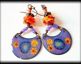 Orange Red, Artisan Handmade Earrings, Summer, Sunny
