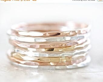 SUMMER SALE Stacking Rings / Rose Gold Stacking Ring Set / Stacking Rings Gold / Stacking Rings Silver / Ring Set / Rose Gold Stacking