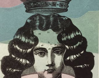 Whimsical Queen Crown Girl Original monoprint La Riena The Queen Lithograph with Chine Colle Alchemy art 6x8 inches