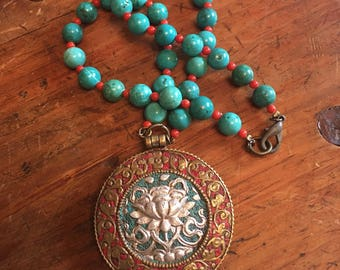 Coral and turquoise beaded boho tribal necklace