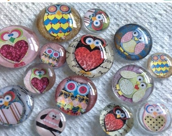 "Owls Dozen Owls Glass Fridge Magnet Set (12) Twelve magnets owls in three sizes S(1/2 ""),M(1""),L(1.2"")"