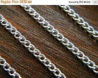 ON SALE 20ft Bright Silver Chain Silver Chain Twist Curb Chain 3.7 x 2.5 - B