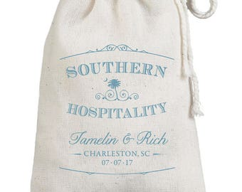 Southern Hospitality Gratitude Custom Wedding Favor Bags - Cotton Printed Guest Bags - Southern Wedding Grits Muslin Sack