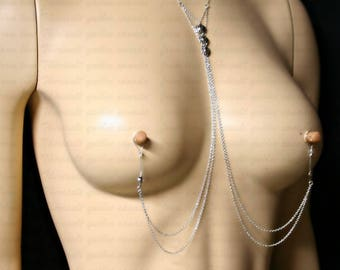 Nipple jewelry with chains - Nipple fake piercing - Non-pierced nipple jewelry with chains and 3 flowers (m16 fleurs BC petite)