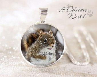 Squirrel pendant etsy sterling silver squirrel necklace snowy squirrel jewelry red squirrel pendant silver animal necklace aloadofball Gallery