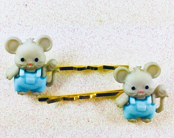 Girls Bobby Pins, Mouse Hair Barrettes, Mice Hair Clips, Child's Hair Clips, Mouse Hair Pins, Hair Barrettes, Little Girl Bobby Pins
