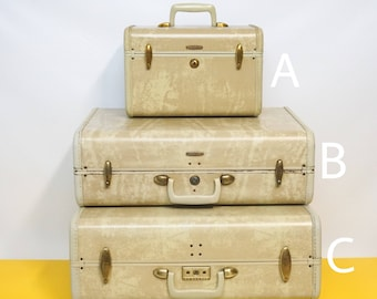 Vintage Samsonite luggage suitcase Hard sided suitcase Vintage Train Case Cosmetic Case Carry On