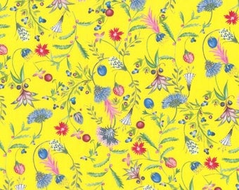 "A/W 2017 -  Liberty Tana Lawn fabric TEMPTATION MEADOW - 17"" wide x 13""  (43cm x 33cm) - yellow"
