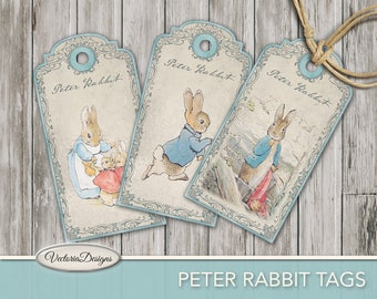 Peter Rabbit Tags printable tags paper crafting beatrix potter scrapbooking hobby crafting instant download digital sheet - VDTABP1716