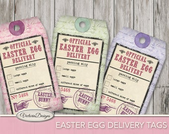 Easter Egg Delivery Tags Packing Slip printable gift tags easter party paper crafting scrapbooking instant download digital Sheet - VD0656