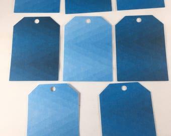 Blue Ombre Chevron Tags - set of 8