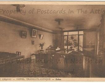 Transatlantic Hotel in France inside the Living Room French Vintage Postcard
