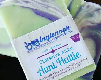 Aunt Hattie Soap - 5 oz Inglenook Soaps Home Scents Home Goods Lemon Verbena Soap Pthtlatate-Free
