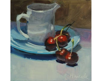 White Pitcher and Red Cherries