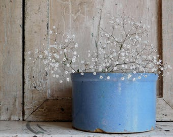 Vintage Blue Stoneware Butter Crock