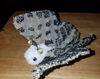 Fluffy soft sculpture moth, OOAK