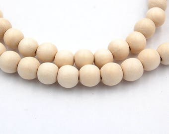 8mm White Wood Beads, round wood boho chic -16 inch strand