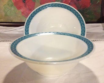 Set of 2 vintage pyrex corning vegetable serving bowls turquoise autumn bands leaves
