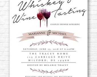 Whiskey and Wine Tasting Bridal Shower Birthday Party Invitation