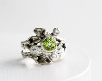 Peridot, White Sapphire Engagement Ring Set, Leaf Rings, Silver Twig Rings