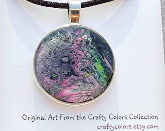 Mini Painting Pendant Original Abstract Art Wearable Art Necklace 3374