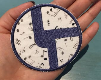 Disco Biscuits blue, white, and silver music note LOGO Iron on Patch