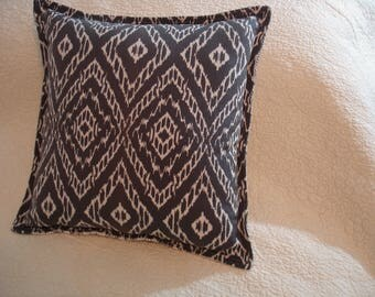 "Ikat & Plaid pillow---16"" by 16""---Cinder Gray---FREE Shipping---Ready to Ship---OOAK"