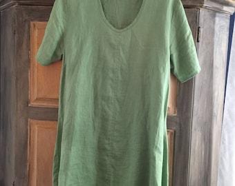 FLAX Jeanne Englehart Green Linen Tunic With Asymmetrical Side Seams Sz S