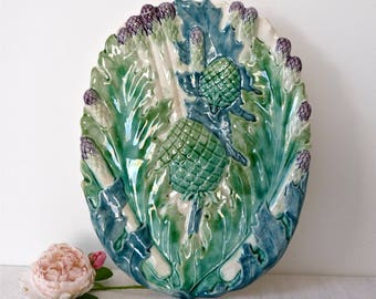French antique Asparagus platter - Asparagus Dish - French Majolica - French Dinner - Collectible Majolica